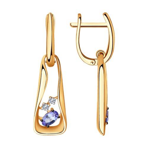 Серьги из золота с бриллиантами и танзанитами (6024139) - фото