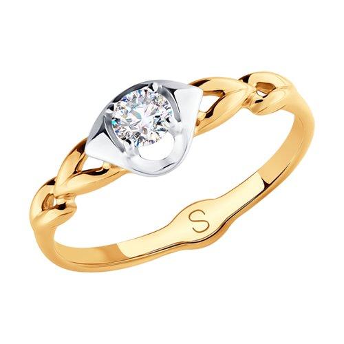 Кольцо из золота с фианитом (017979) - фото