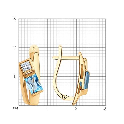 Серьги из золота с топазами и Сваровски 725602 SOKOLOV фото 2