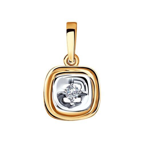 Подвеска из комбинированного золота с бриллиантом (1030708) - фото