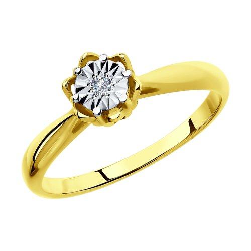 Кольцо из комбинированного золота с алмазной гранью с бриллиантом (1011702-2) - фото