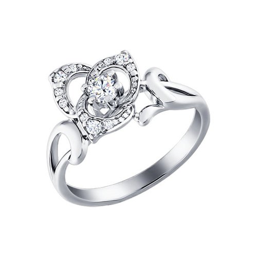Серебряное кольцо с цветком выложенным фианитами SOKOLOV