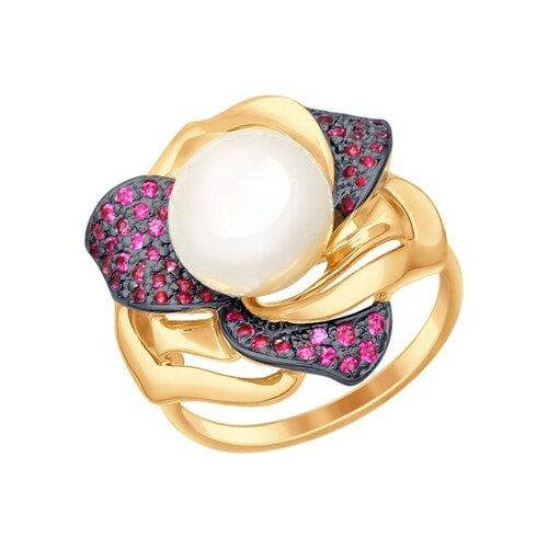 Кольцо из золота с жемчугом и красными фианитами
