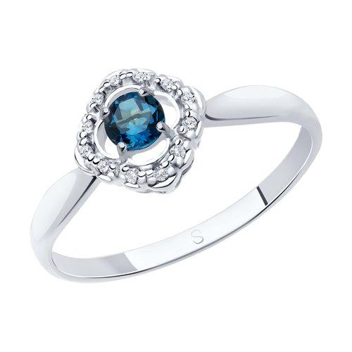 Кольцо из серебра с синим топазом и фианитами (92011387) - фото