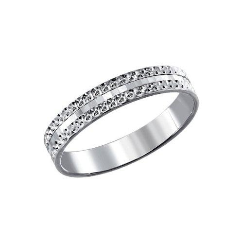 Серебряное обручальное кольцо с гранями