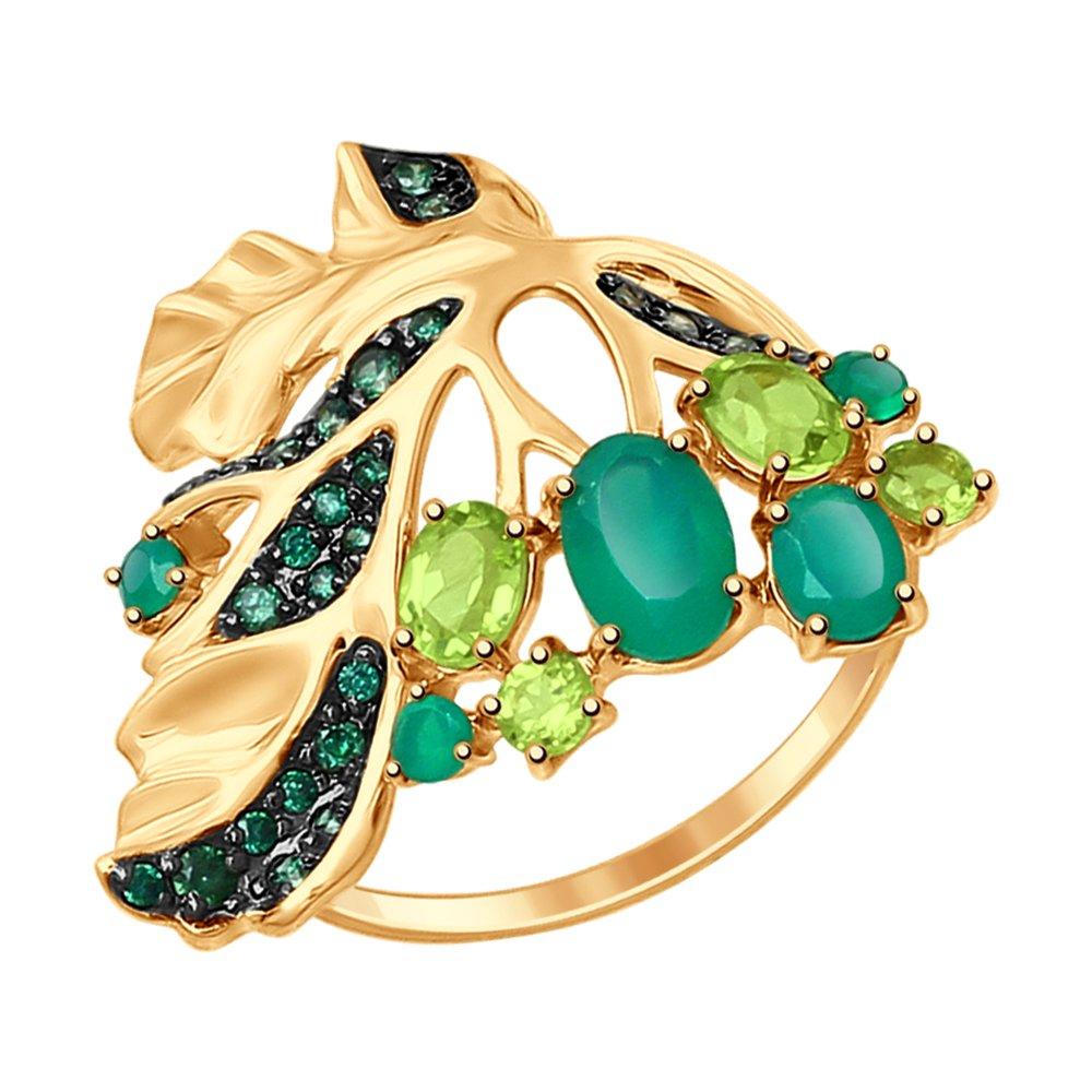 Кольцо «Листок» SOKOLOV из золота с миксом камней кольцо листок с миксом камней sokolov