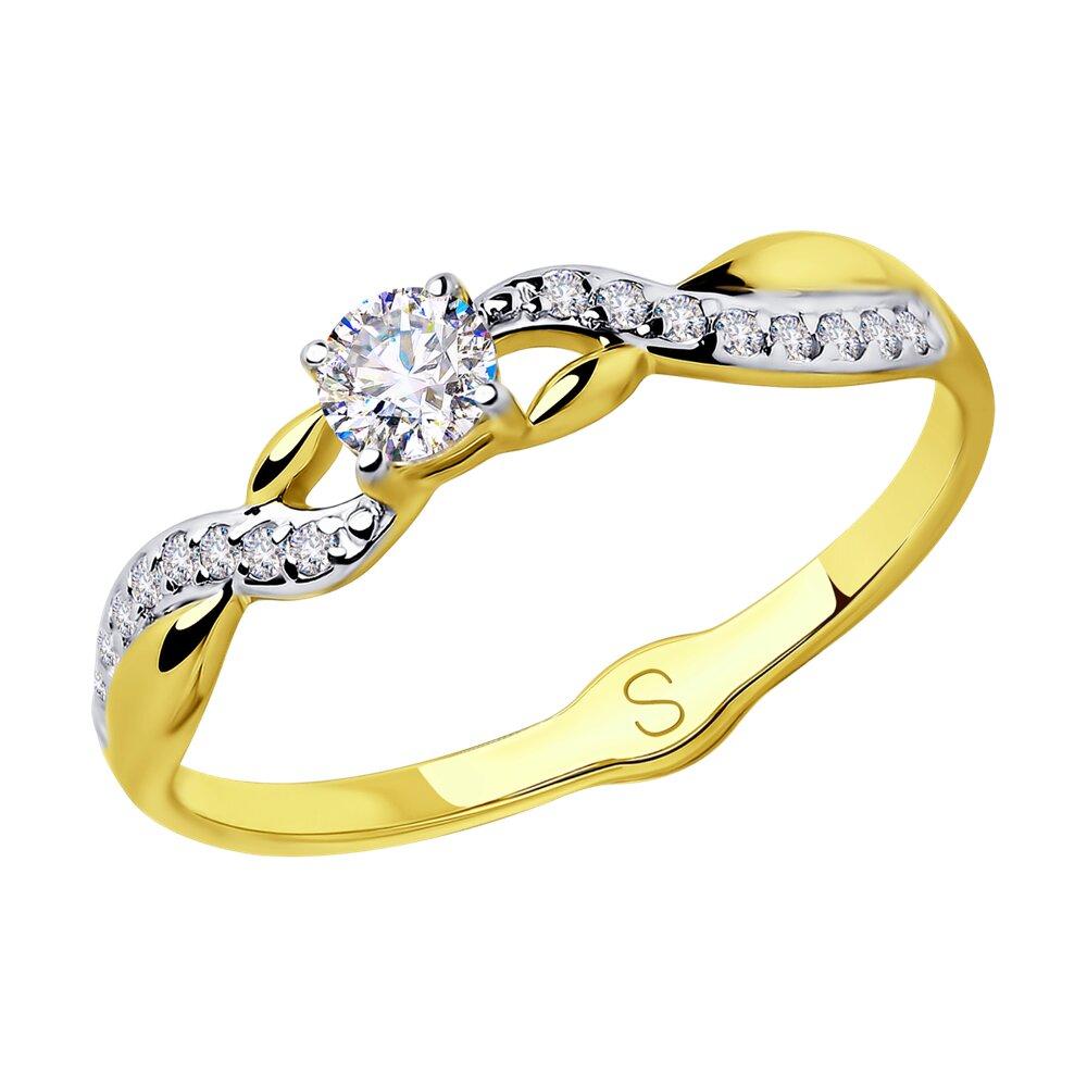 Кольцо SOKOLOV из желтого золота с фианитами фото