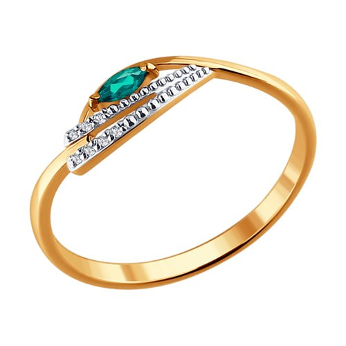 Кольцо из золота с бриллиантами и изумрудом (3010518) - фото