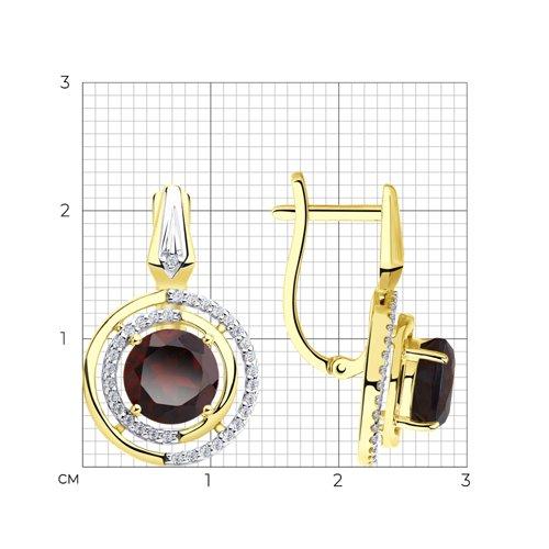Серьги из желтого золота с гранатами и фианитами 725871-2 SOKOLOV фото 2