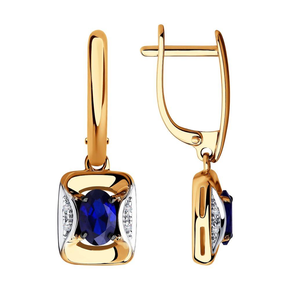 Серьги SOKOLOV из золота с бриллиантами и синими корунд (синт.) фото