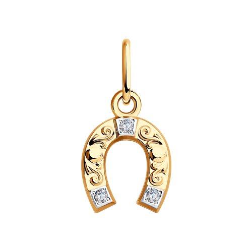 Подвеска «Подкова» из золота с фианитами