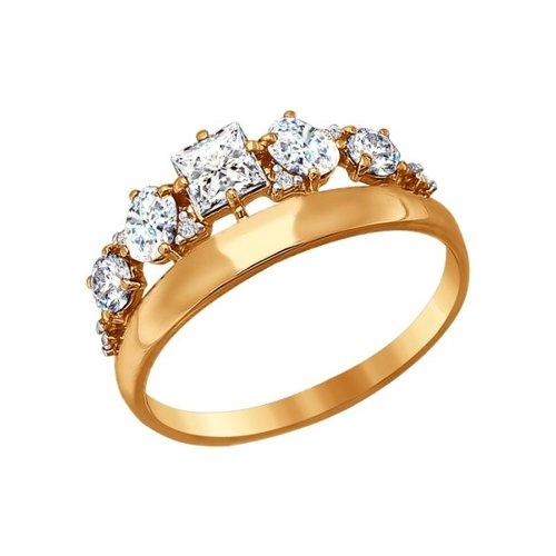 Золотое кольцо с крупными фианитами SOKOLOV