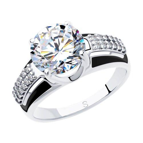 Кольцо из серебра с эмалью (94012973) - фото