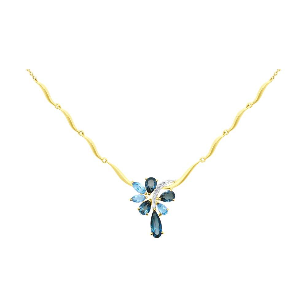 Колье SOKOLOV из желтого золота с голубыми и синими топазами и фианитами колье с топазами и бриллиантами из желтого золота valtera 69493