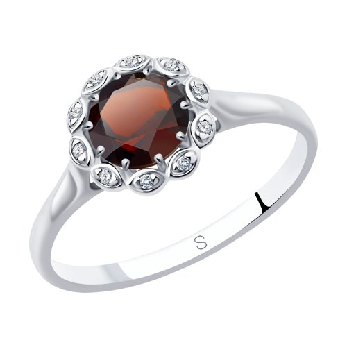 Кольцо из серебра с гранатом и фианитами (92011638) - фото