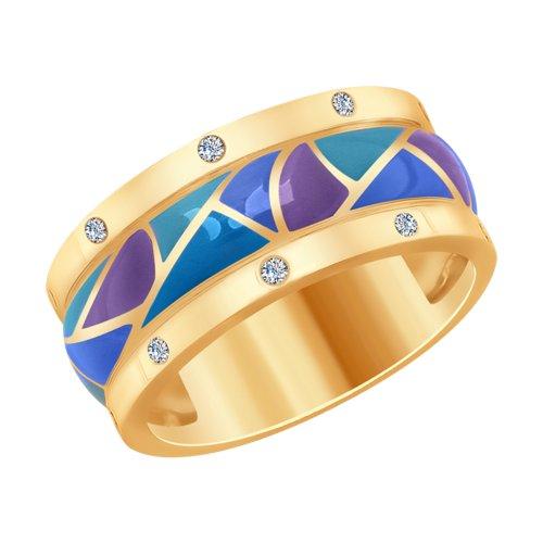 Кольцо из золота с эмалью и бриллиантами (1011709) - фото