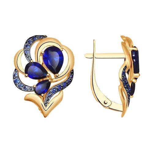 Серьги из золота с синими корундами (синт.) и синими фианитами (37725037) - фото