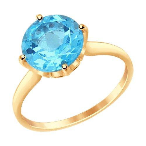 Кольцо из золота с топазом и фианитами (37714914) - фото