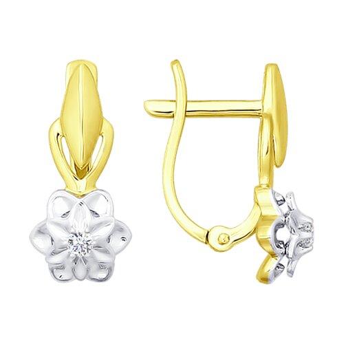 Серьги из желтого золота с бриллиантами (1020885-2) - фото