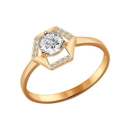 Кольцо из золочёного серебра с фианитами (93010528) - фото
