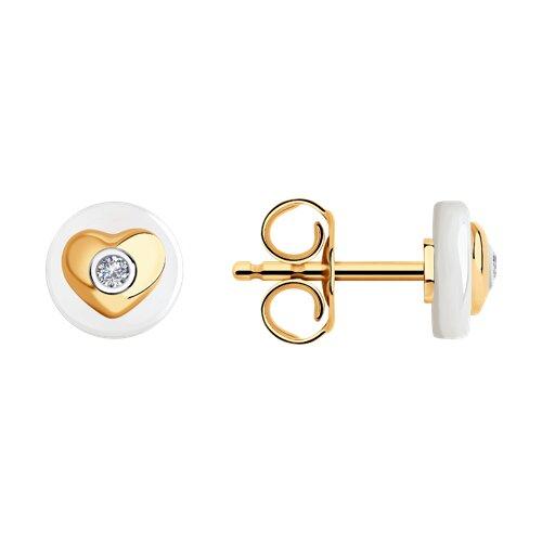 Серьги из золота с бриллиантами и керамическими вставками 6025136 SOKOLOV фото