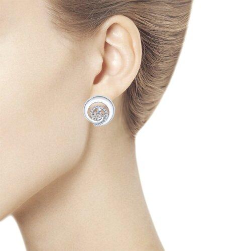 Серьги из серебра с фианитами (94022028) - фото №3