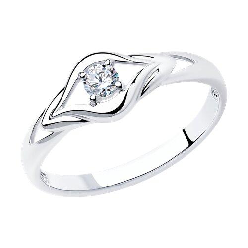 Кольцо из серебра с фианитом (94011586) - фото