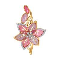Брошь «Цветок» с бриллиантами и эмалью