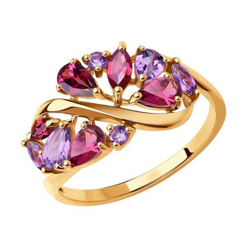 Кольцо из золота с полудрагоценными вставками (714845) - фото