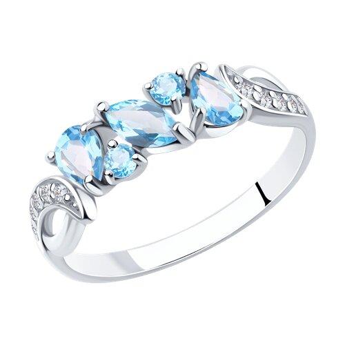 Кольцо из серебра с топазами и фианитами (92011590) - фото