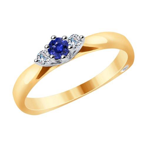 Кольцо из комбинированного золота с бриллиантами и сапфиром (2011084) - фото