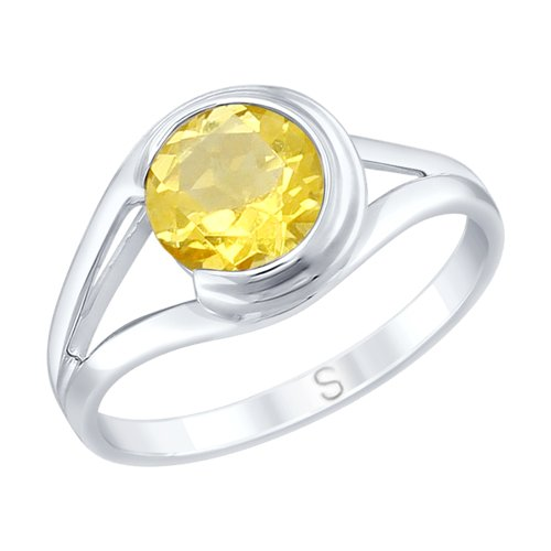 Кольцо из серебра с цитрином (92011733) - фото