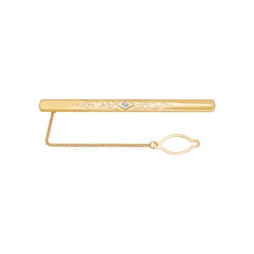 Зажим для галстука из золота с гравировкой с фианитом 090031 sokolov фото