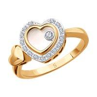 Кольцо из комбинированного золота с миксом камней