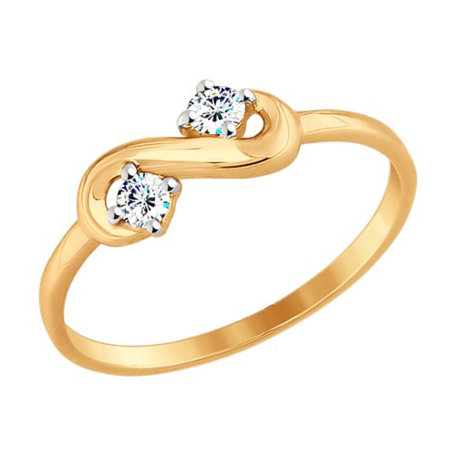 Кольцо из золота с фианитами (017555) - фото
