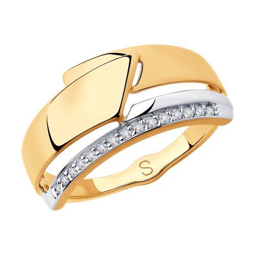 Кольцо из золота с фианитами (018244) - фото