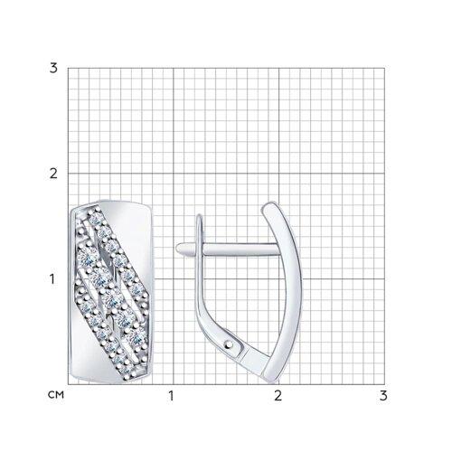 Серьги из серебра с фианитами (94022096) - фото №2