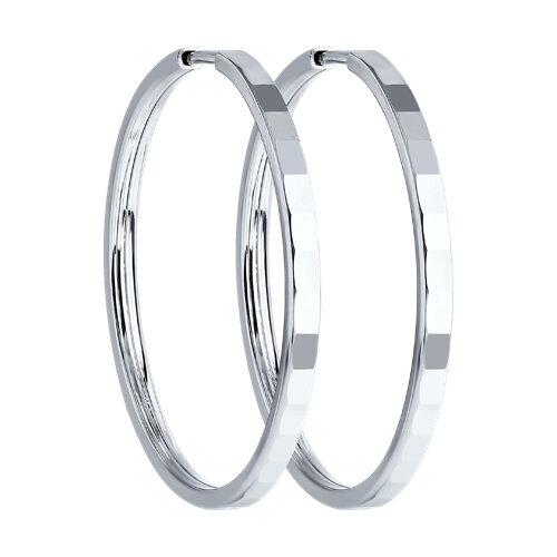 Серьги конго из серебра с алмазной гранью (94140074) - фото