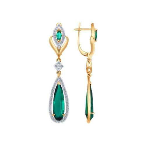 Серьги длинные из золота с бриллиантами и гидротермальным изумрудом (синт.)