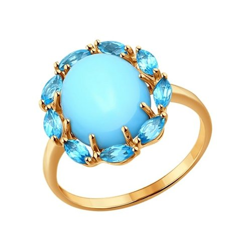 Кольцо SOKOLOV из золота с бирюзой и топазами кольцо sokolov из золота с бирюзой и топазами