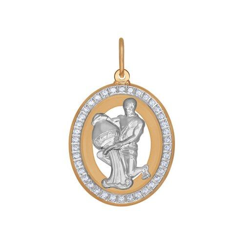 Подвеска знак зодиака Водолей из комбинированного золота с фианитами