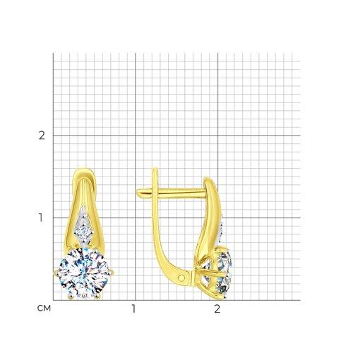 Серьги из желтого золота с фианитами (027523) - фото №2