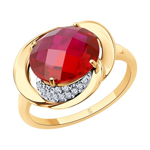 Кольцо из золота с красным корундом (синт.) и фианитами (37714333) - фото