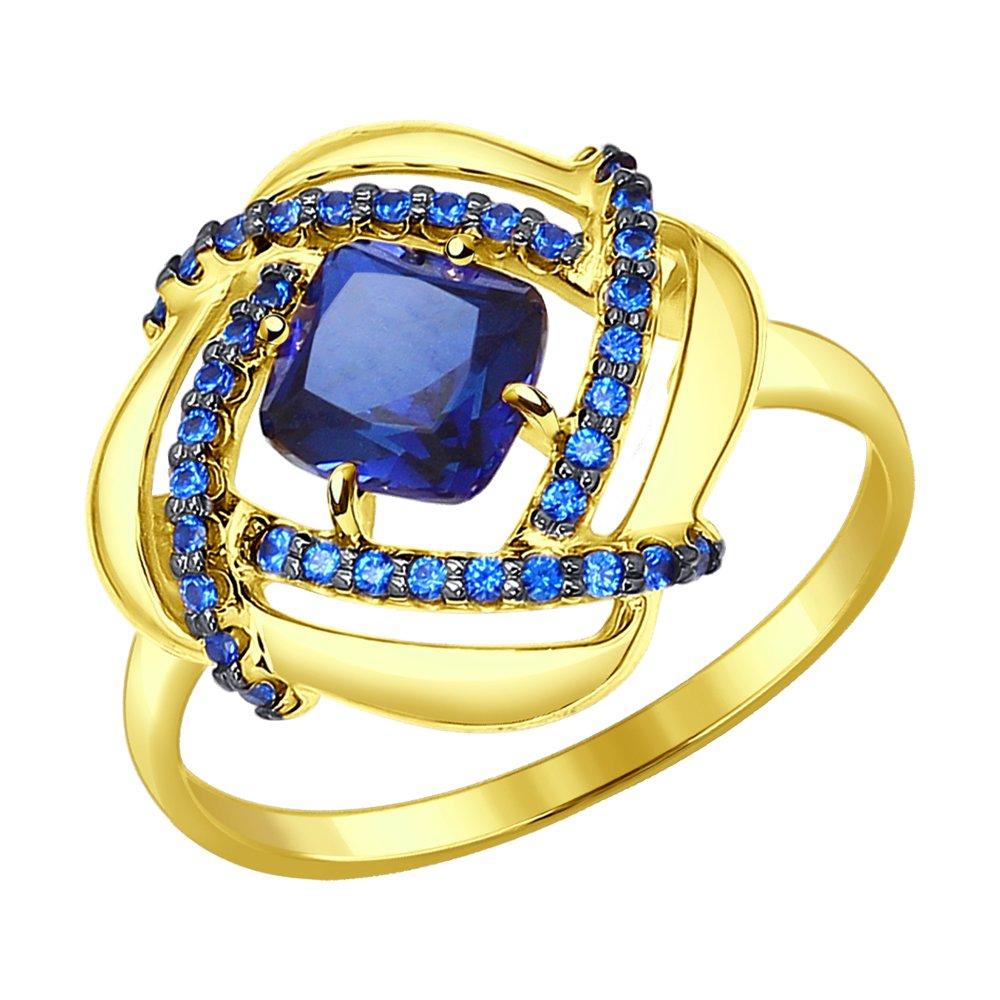 Фото - Кольцо SOKOLOV из желтого золота с синим корунд (синт.) и синими фианитами кольцо sokolov из желтого золота с синими корунд синт синим опалом и зелеными и синими фианитами