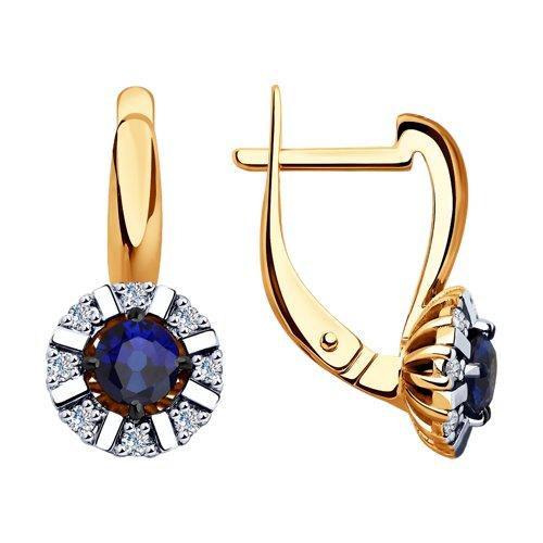Серьги из золота с бриллиантами и синими корунд (синт.) (6022140) - фото