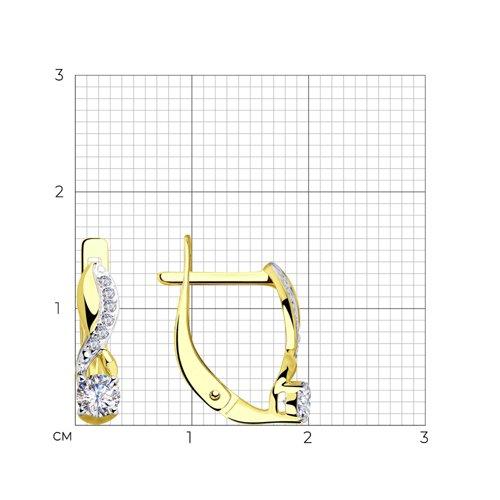 Серьги из желтого золота с фианитами 028217-2 SOKOLOV фото 2