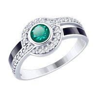 Кольцо из серебра с эмалью и зелёным ситаллом и фианитами