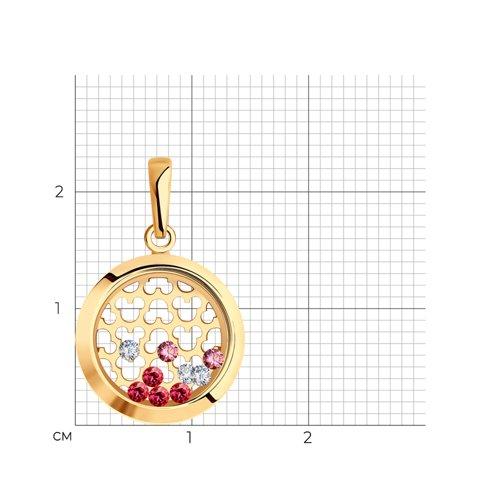 Подвеска из золота с минеральным стеклом, фианитами Сваровски и фианитами 036052 SOKOLOV фото 2
