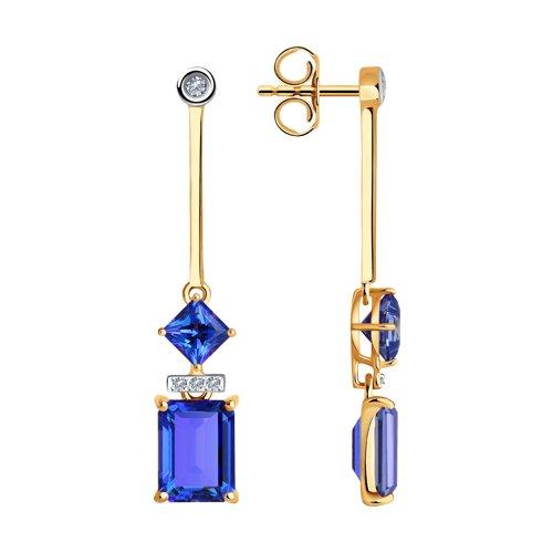 Серьги из золота с бриллиантами и топазами Сваровски