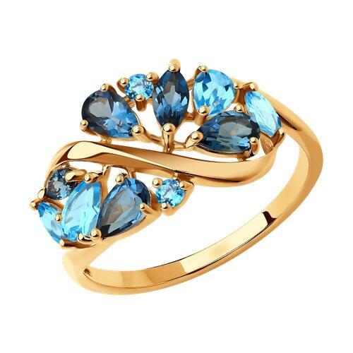 Кольцо из золота с голубыми и синими топазами (714844) - фото